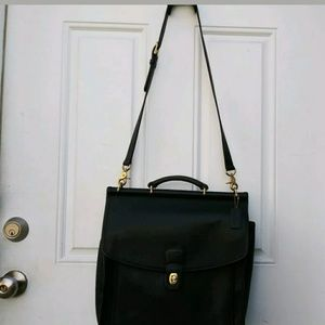 Vintage Coach Laptop Briefcase Messenger Bag Black